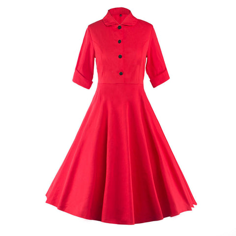 Red Button Up Vintage Dress