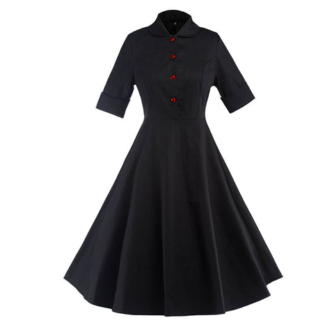 Black Button Up Vintage Dress