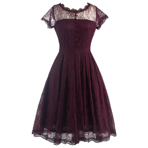 Wine Red Lace Hollow Out Vintage Dress