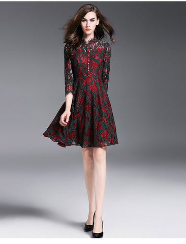 Black and Red Lace Midi Dress
