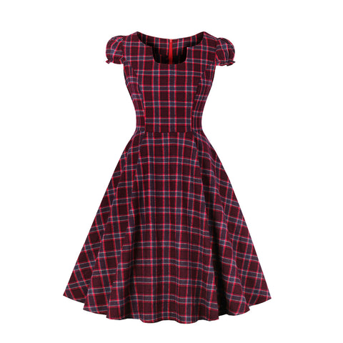 Burgundy Plaid Dress
