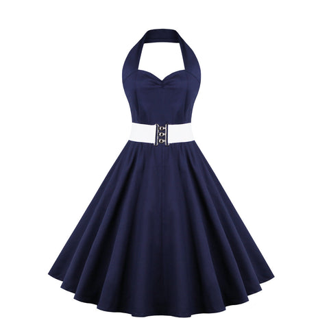 Belted Navy Blue Halter Dress