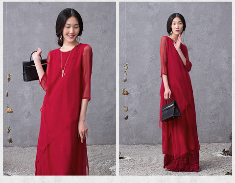 Red Two Suits Of Silk Dress