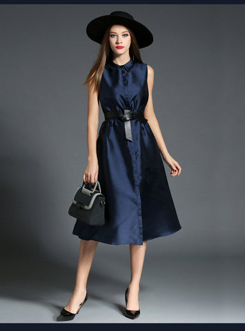 Navy Blue Belted Button Up Midi Dress