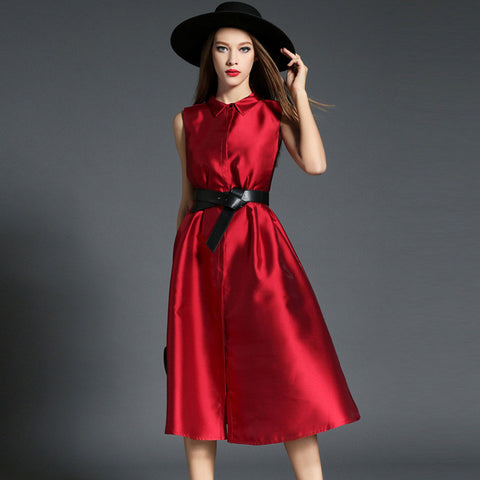Red Belted Button Up Midi Dress
