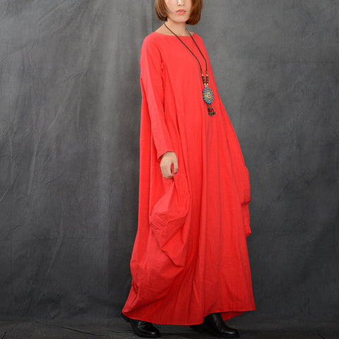 Red Cotton And Linen Long Sleeve Maxi Dress