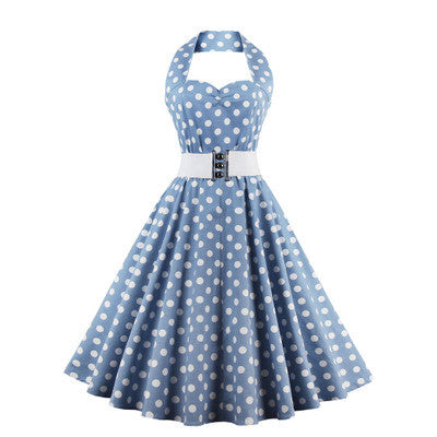 Light Blue Belted Halter Vintage Dress