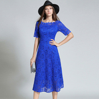 50daf8e6758d Royal Blue Lace Midi Dress – Lily   Co.