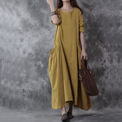 Yellow Long Sleeve Cotton And Linen Big Bag  Maxi Dress