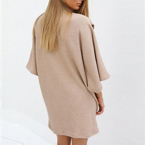 Beige Turtle-Neck super Size Sweater