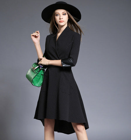 Black Wave Point High Low Midi Dress