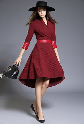 Burgundy High Low Midi Dress