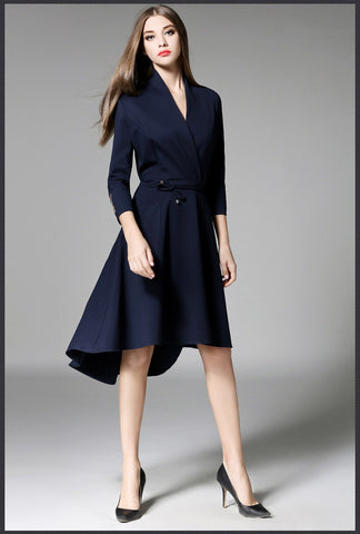 Navy Blue High Low Midi Dress