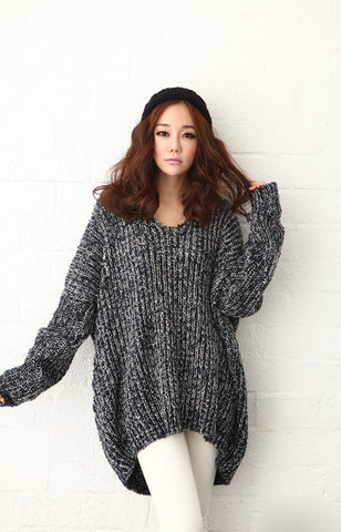 Gray Loose V-neck Pullover Sweater