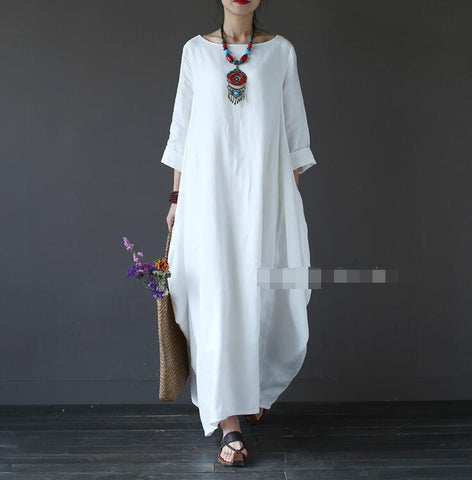 White Cotton And Linen Long Sleeve Maxi Dress