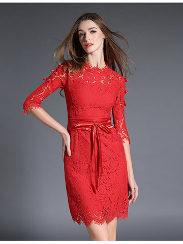 Bleted Red Lace Midi Dress