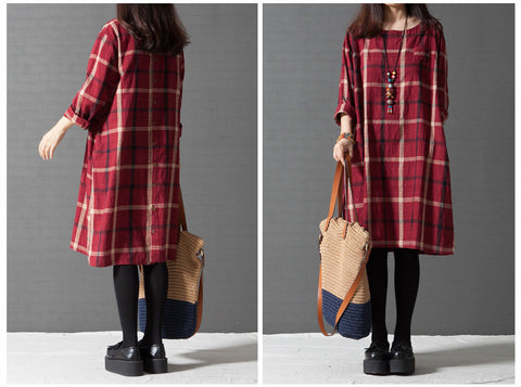 Red Grid Round Neck Long Sleeve Cotton Dress