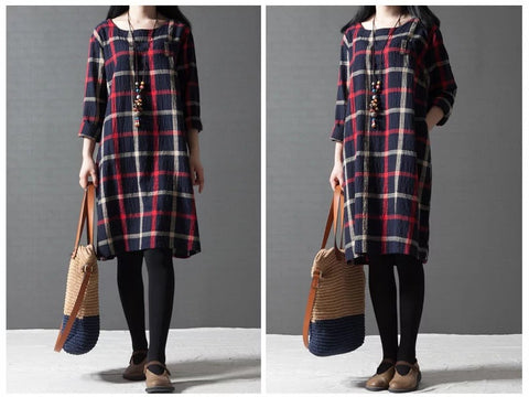 Blue Grid Round Neck Long Sleeve Cotton Dress