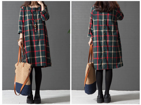 Green Grid Round Neck Long Sleeve Cotton Dress