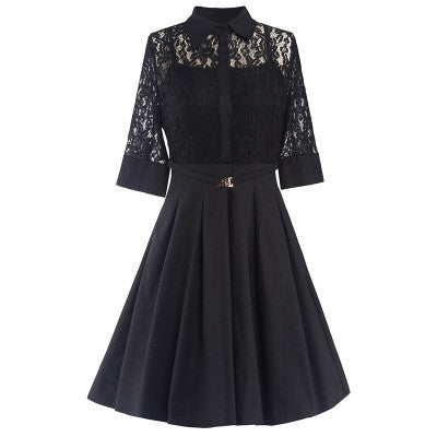 Belted Black Sexy Lace  Dress