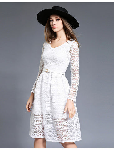 Bleted White Lace Midi Dress