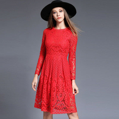 Red Long Sleeve Lace Midi Dress