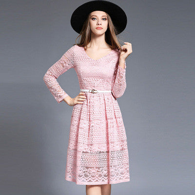 Bleted Pink Lace Midi Dress