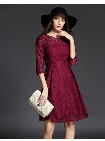 Burgundy Long Sleeve Midi Dress