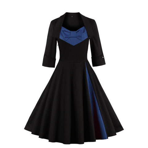 Navy Blue Long Sleeve Vintage Dress