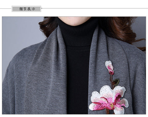 Gray Irregular Flower Embroidery Coat