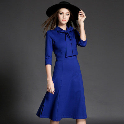 f5add9241a02 Long Sleeve Royal Blue Midi Dress – Lily   Co.