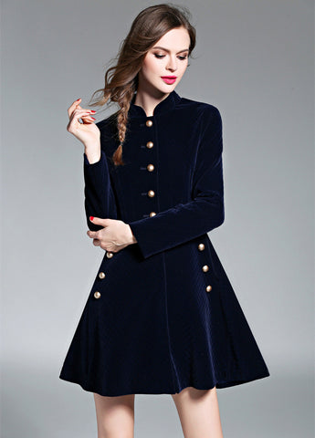 Navy Blue Velvet Midi Dress
