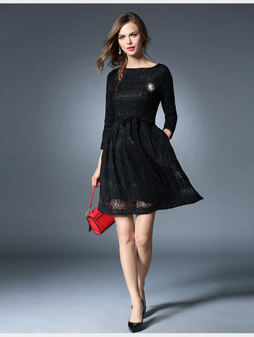 Belted Black Lace Dress