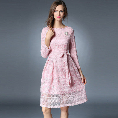 Belted Pink Lace Dress