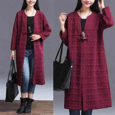 Wine Red Straight Pocket Coat
