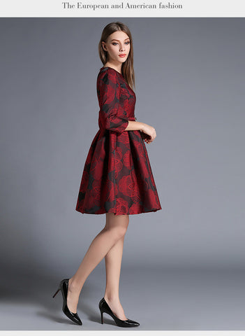 Belted Red Printing Midi Dress