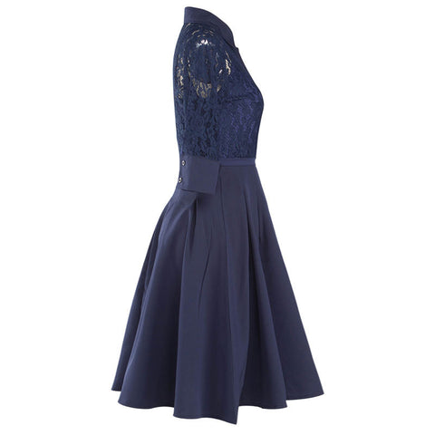 Belted Navy Blue Sexy Lace  Dress