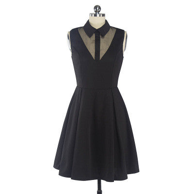 Black Gauze Collar Sleeveless Dress