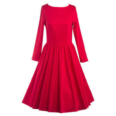 Red Long Sleeve Pleated Dress