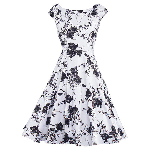 Black And White Sleeveless Priting Dress