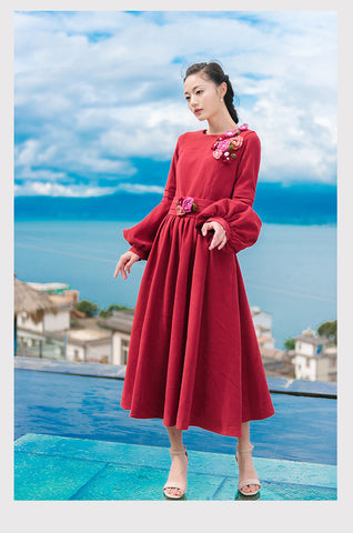 Wine Red The Lantern Sleeve Midi Dress