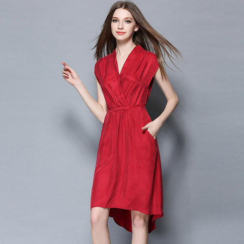 Red Belted High Low Midi Dress