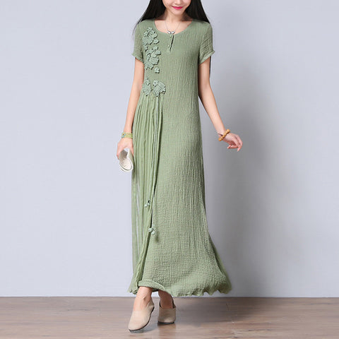 Green Embroidered Cotton Short Sleeve Dress