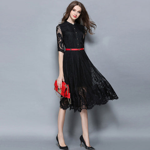 Black BeltedLace Maxi Dress