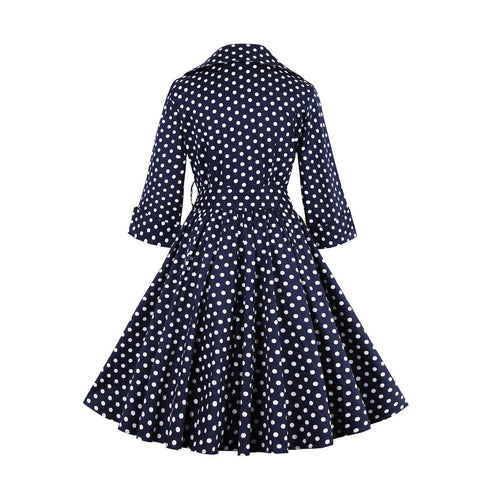 Navy Blue Polka Dot Vintage Dress