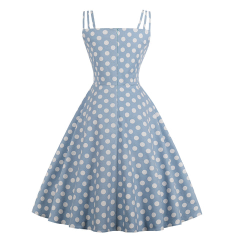 Blue Polka Dot Halter Dress