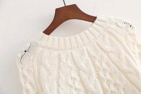 Embroidered Knitted Cabled Sweater