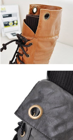 Orange Lace-UP Leather Winter Ankle Snow Boots