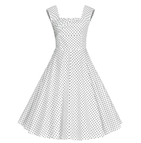 White Polka Dot Halter Midi Vintage Dress
