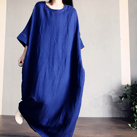 Blue Loose Maxi Dress